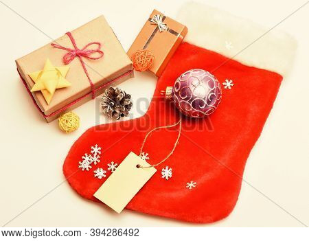 Small Items Stocking Stuffers Or Fillers Little Christmas Gifts. Christmas Sock White Background Top