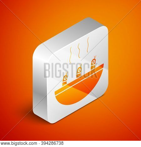 Isometric Soup With Shrimps Icon Isolated On Orange Background. Tom Yum Kung Soup. Silver Square But