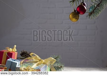 Image Of Luxury New Year Gifts, Different Present Boxes Under Christmas Tree In Holiday Eve, Christm