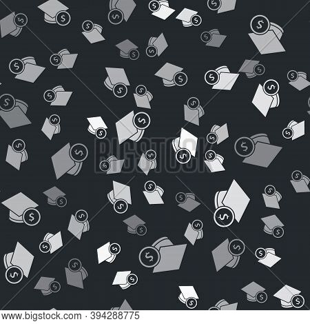 Grey Graduation Cap And Coin Icon Isolated Seamless Pattern On Black Background. Education And Money