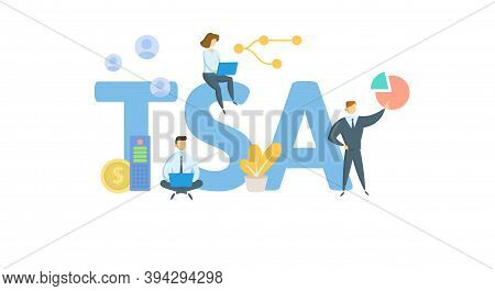 Tsa, Tax-sheltered Annuity. Concept With Keywords, People And Icons. Flat Vector Illustration. Isola
