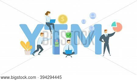 Ytm, Yield To Maturity. Concept With Keywords, People And Icons. Flat Vector Illustration. Isolated