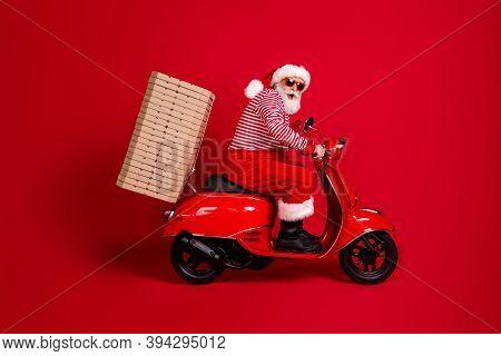 Full Length Profile Photo Of Pensioner Grandpa Moped Ride Road Deliver Many Pizza Box Wear Santa X-m