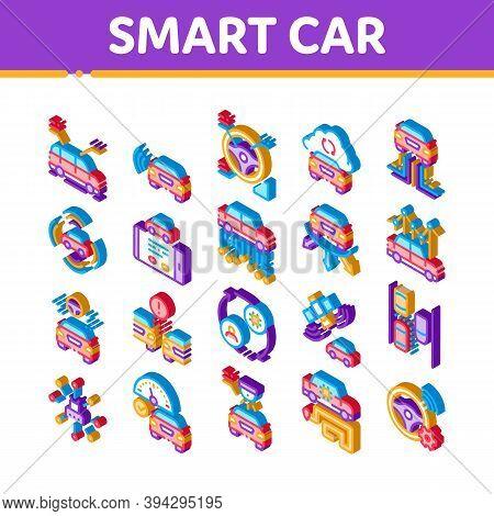 Smart Car Technology Icons Set Vector. Isometric Smart Car Autopilot And Help Parking, Satellite Con
