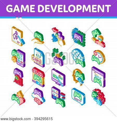 Video Game Development Icons Set Vector. Isometric Game Development, Coding And Design, Developing P