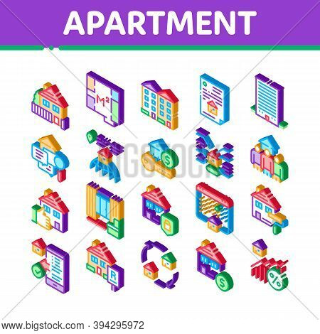 Apartment Building Icons Set Vector. Isometric Apartment Floor Plan Architectural Project And House,