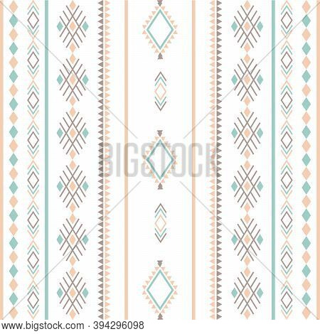 Aztec Tribal Ethnic Seamless Pattern With Geometric Shapes