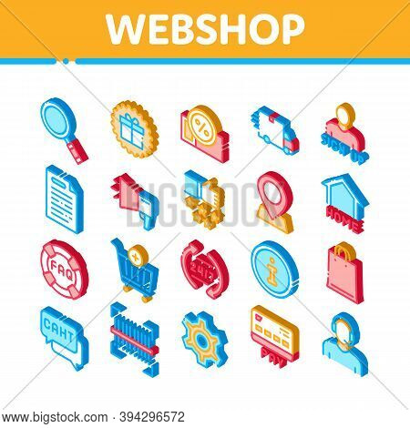 Webshop Internet Store Icons Set Vector. Isometric Webshop Online Shop Coupon And Buy, Chat And Faq,