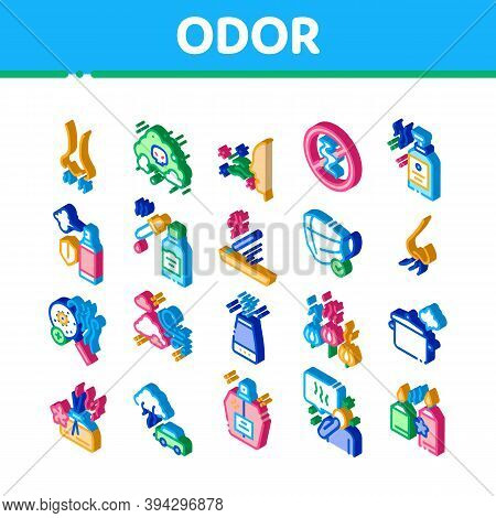 Odor Aroma And Smell Icons Set Vector. Isometric Nose Breathing Aromatic Odor And Clean Air, Perfume