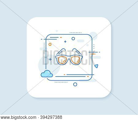 Travel Sunglasses Line Icon. Abstract Square Vector Button. Trip Sun Glasses Sign. Holidays Symbol.