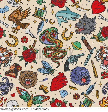 Vintage Tattoos Seamless Pattern With Shark Snake Angry Wolf Bear Gorilla Tiger Heads Eagle Scorpio