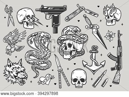 Tattoos Vintage Monochrome Collection With Weapon Knives Razor Dagger Bullets Angry Wolf Head Snake