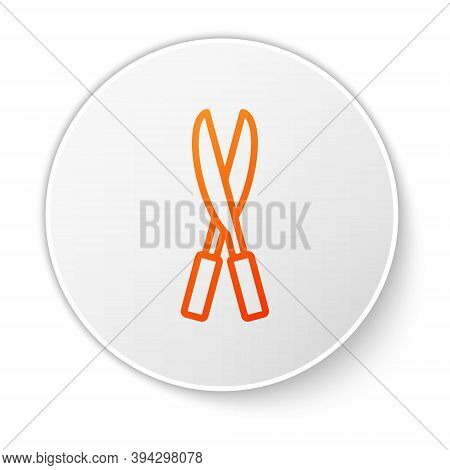 Orange Line Gardening Handmade Scissors For Trimming Icon Isolated On White Background. Pruning Shea