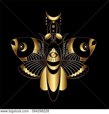 Vector Image Of A Bohemian Moth In Gold Outlines With Elements Of Gilding Combined With Black. Geome