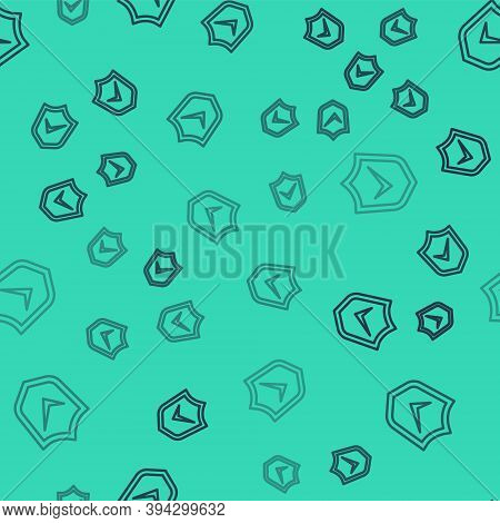 Black Line Shield With Check Mark Icon Isolated Seamless Pattern On Green Background. Security, Safe