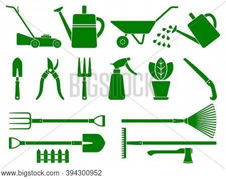 Set Of Stylized Garden Tools.  Gardening Instruments. Various Stylized Garden Tools Isolated On Whit