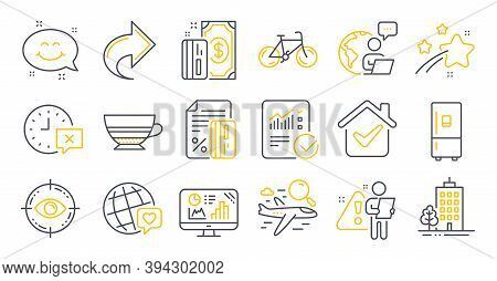 Set Of Line Icons, Such As Credit Card, Refrigerator, Analytics Graph Symbols. Search Flight, Mocha,