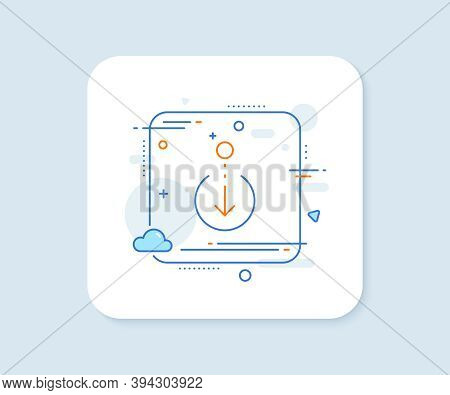 Scroll Down Arrow Line Icon. Abstract Square Vector Button. Scrolling Screen Sign. Swipe Page. Scrol