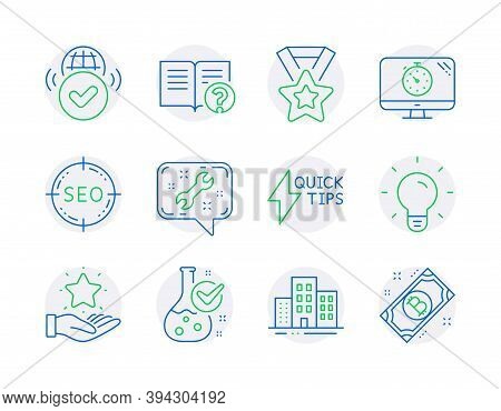 Business Icons Set. Included Icon As Seo, Loyalty Program, Light Bulb Signs. Winner Ribbon, Verified