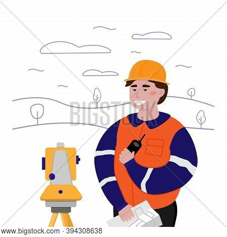 Surveyor Working With Theodolite Outdoor On The Background Trees And Hills. Engineer With Surveyor E