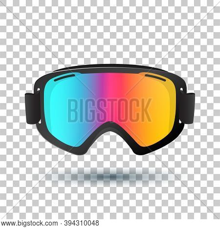 Motocross Or Mountain Bike Goggles With Polarized Lens Islolated On Transparent Background. Vector I