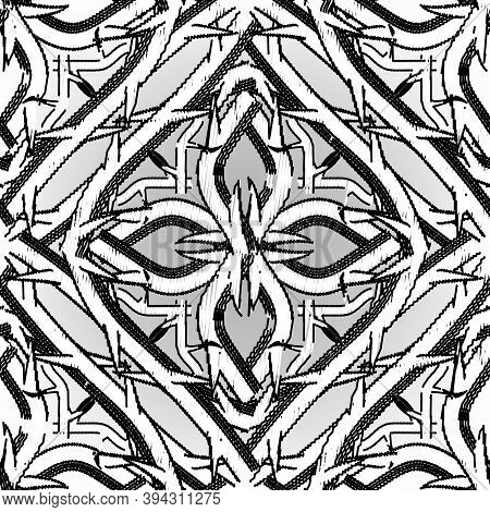 Textured Grunge Celtic Vector Seamless Pattern. Embroidery Ornamental Intricate Background. Hand Dra