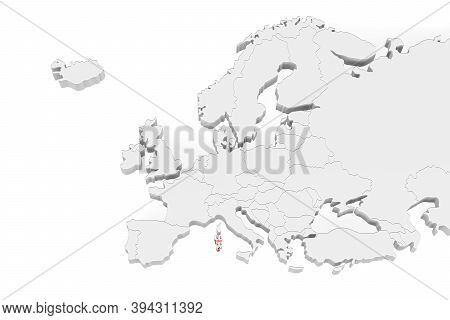 3d Europe Map With Marked Borders - Area Of Sardinia Marked With Sardinia Flag - Isolated On White B