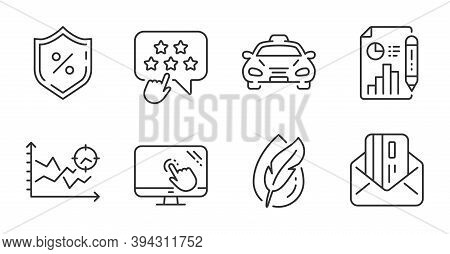 Seo Analysis, Report Document And Taxi Line Icons Set. Touch Screen, Ranking Star And Loan Percent S
