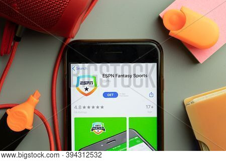 New York, United States - 7 November 2020: Phone Screen Close-up With Espn Fantasy Sports Mobile App