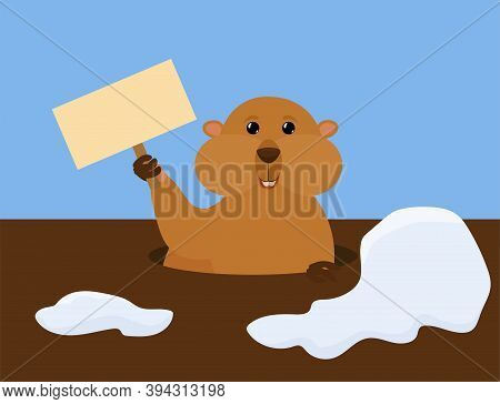 Groundhog Day Vector Cartoon Illustration With Cute Marmot Holding Sign. Traditional Holiday Charact