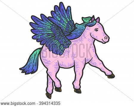 Little Pegasus, Pony With Wings. Engraving Vector Illustration Color.