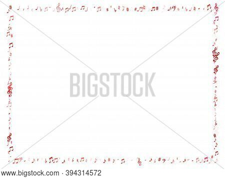 Red Flying Musical Notes Isolated On White Background. Pink Musical Notation Symphony Signs, Notes F