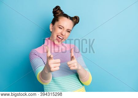 Hey You. Photo Of Attractive Crazy Funky Lady Two Buns Directing Fingers On Camera Blinking Eye Flir