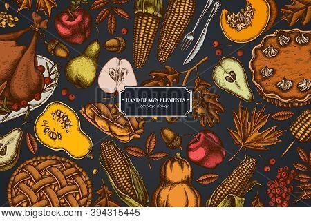 Design On Dark Background With Pumpkin, Fork, Knife, Pears, Turkey, Pumpkin Pie, Apple Pie, Corn, Ap