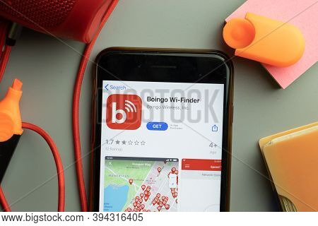 New York, United States - 7 November 2020: Phone Screen Close-up With Boingo Wi-finder Mobile App Lo