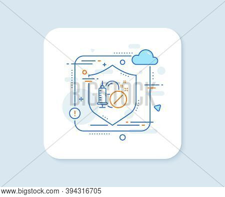 Medical Drugs Line Icon. Abstract Vector Button. Medicine Syringe Sign. Pharmacy Medication Symbol.