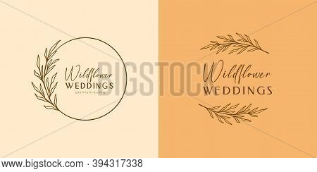 Floral Eucalyptus Label Set, Package. Wildflower Linear Logo Sketch. Floral Wreath Emblem Wedding De