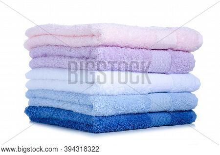 Stack Folded Towels On White Background Isolation