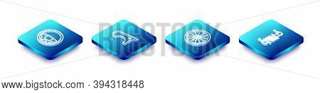 Set Isometric Line Steering Wheel, Car Fender, And Shock Absorber Icon. Vector