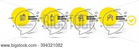 Middle Finger, Interview Documents And Repairman Line Icons Set. Timeline Infograph Speech Bubbles.