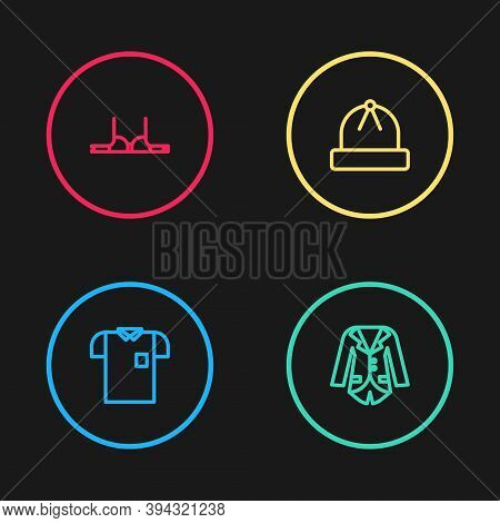 Set Line Polo Shirt, Blazer Or Jacket, Winter Hat And Bra Icon. Vector