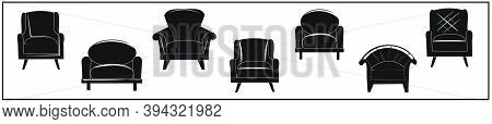 A Set Of Different Types Of Chairs. Black Silhouettes Of Armchairs. Design, Interior, Home Comfort.