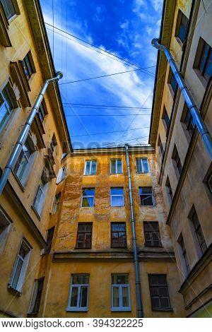 Courtyard-well. Bottom View Upwards. Saint Petersburg, Russia.