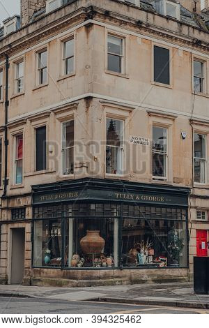 Bath, Uk - October 04, 2020: Facade Of Closed Tully & George Gift Shop In Bath, The Largest City In