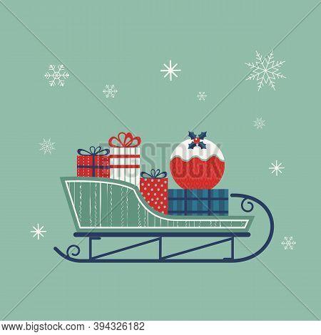 Santa Sleigh Flat Vector Icon. Christmas Snow Sledge With Gifts Present Boxes Cartoon. Simple Minima
