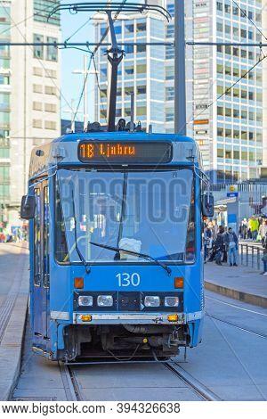 Oslo, Norway - October 29, 2016: Blue Tram Public Transport In Oslo, Norway.