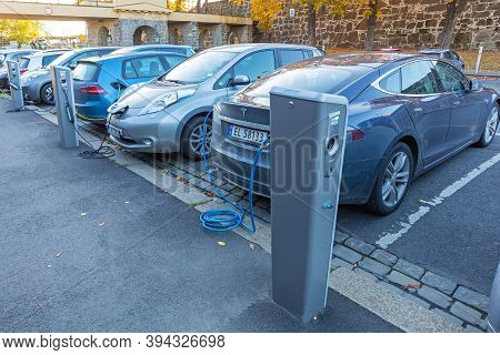 Oslo, Norway - October 29, 2016: Parking With Charging Station For Electric Cars Only In Oslo, Norwa