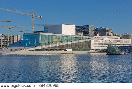 Oslo, Norway - October 29, 2016: Modern Opera Building At Fjord In Oslo, Norway.