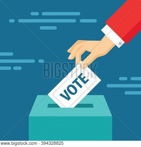 Vote Election Concept Banner. Human Hand Puts Voting Ballot In Vote Box. Make A Choice. Flat Design