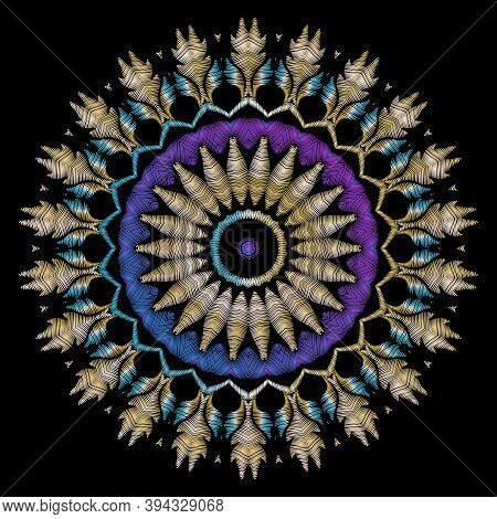 Embroidery Tapestry Vector Flower. Round Textured Mandala Pattern. Embroidered Design With Stitching